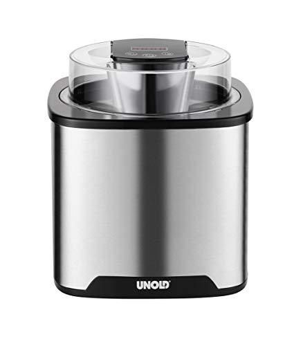 UNOLD 48855 EISMASCHINE Gelato, 1,5 L Volumen, ohne Kompressor, Sahneeiscreme in nur ca. 20-30 Minuten, Edelstahl/Schwarz