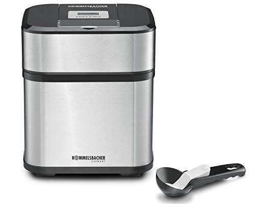 ROMMELSBACHER IM 12 Eismaschine 'Kurt' (4-in-1 für Speiseeis, Frozen Yogurt, Sorbet & Slush, Füllmenge 500 ml für 1,5 Liter Eis, LCD-Anzeige, inkl. Eislöffel & Rezeptideen) Edelstahl, schwarz