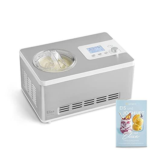 Eismaschine & Joghurtbereiter Elisa 2,0 L mit selbstkühlendem Kompressor 180 W, aus Edelstahl mit Kühl- und Heizfunktion, inkl. Rezeptheft