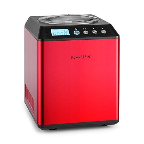 Klarstein Vanilla Sky - Eismaschine, Eisbereiter, Speiseeismaschine, Kühlhaltefunktion, LED-Display, Timer, Edelstahl, einfache Reinigung, 180 Watt, 2 Liter Fassungsvermögen, Rot
