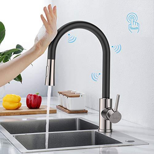 Synlyn Touch Sensor Küchenarmatur Ausziehbar Wasserhahn Küche Armatur mit Brause Spültischarmatur mit 2 Strahlarten Mischbatterie Edelstahl Einhandmischer mit 360° Schwenkfunktion - Schwarz